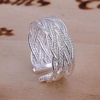 Női Band Ring mandzsetta Ring Ötvözet hölgyek Európai Divat Nyitva Divatos gyűrű Ékszerek Ezüst Kompatibilitás Esküvő Parti Napi Hétköznapi Álarcos mulatság Eljegyzés Állítható