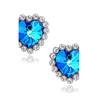 Women's Synthetic Sapphire Stud Earrings - Imitation Diamond Heart, Star, Love Luxury Blue For Daily