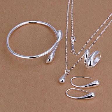 Kadın's Takı Seti - Gümüş Kaplama Damla, Gözyaşı Temel, Moda Dahil etmek Gümüş Uyumluluk Parti Doğumgünü Nişan / Yüzükler / Kolczyki / Kolyeler / Bilezik