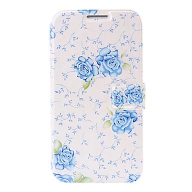 malé čerstvé modré květy kožené pouzdro s držákem sloty a kreditní kartou pro Samsung Galaxy i9500 s4
