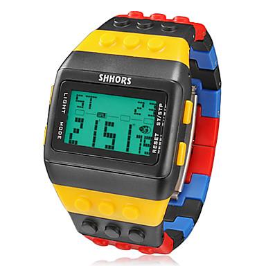levne Pánské-Pánské Náramkové hodinky Digitální hodinky Digitální Pryž Vícebarevný Alarm Kalendář Chronograf Digitální Přívěšky - Černá / žlutá Dva roky Životnost baterie / LCD / Maxell CR2025