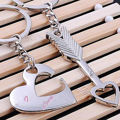 A Pair Lover Kalp ve Ok Şekilli Gümüş Anahtarlık