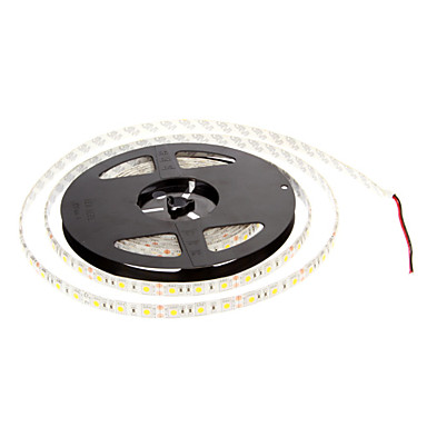 ZDM® 5m Esnek LED Şerit Işıklar 300 LED'ler 5050 SMD Sıcak Beyaz Su Geçirmez 12 V 1pc / IP65