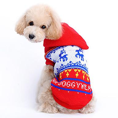 Kedi Köpek Kazaklar Kapüşonlu Giyecekler Köpek Giyimi Ren Geyiği Kırmzı Yün Kostüm Evcil hayvanlar için Erkek Kadın's Sevimli Noel