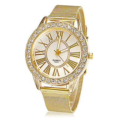 Women's Quartz Wrist Watch Rhinestone Imitation Diamond Alloy Band Flower Sparkle Dress Watch Fashion Gold
