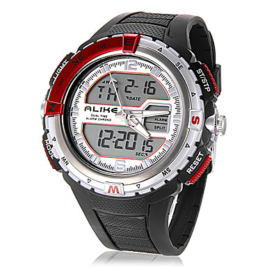 Men's Analog-Digital Multi-Functional Round Dial Rubber Band Wrist Watch (Assorted Colors) Cool Watch Unique Watch