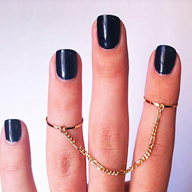 Anéis Pesta / Diário / Casual Jóias Chapeado Dourado Feminino Anéis Meio Dedo 1pç,7
