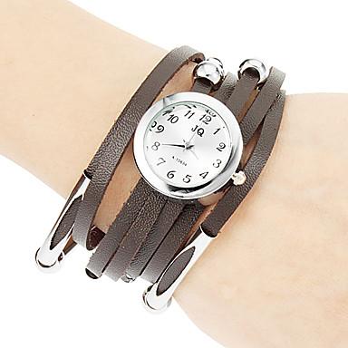Kadın's Bilezik Saat Moda Saat Quartz Büyük indirim PU Bant Bohem Siyah Beyaz Kırmızı Kahverengi