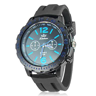 Men's Black Dial Silicone Band Analog Quartz Wrist Watch