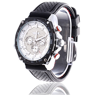 Men's White Dial Analog Quartz Black Band Water Resistant Wrist Watch