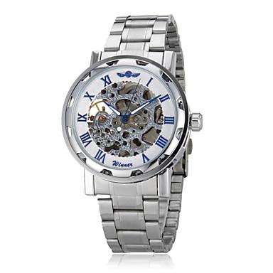 WINNER Erkek Bilek Saati mekanik izle Otomatik kendi hareketli Derin Oyma Paslanmaz Çelik Bant Gümüş Gümüş Mavi