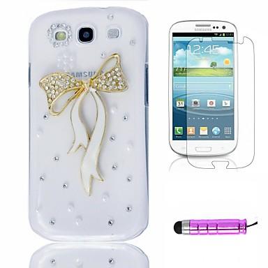 Renkli Kristal Peacock Plastik Telefon Kabuk + HD Film + Mini Stylus Samsung Galaxy S3 i9300 için 3 in1