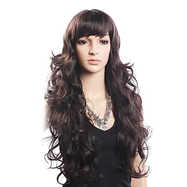 Yüksek Kalite 20% İnsan Saç & 80% Isıya dayanıklı Fiber Saç Kapaksız Uzun Dalgalı Peruk (Sarışın)