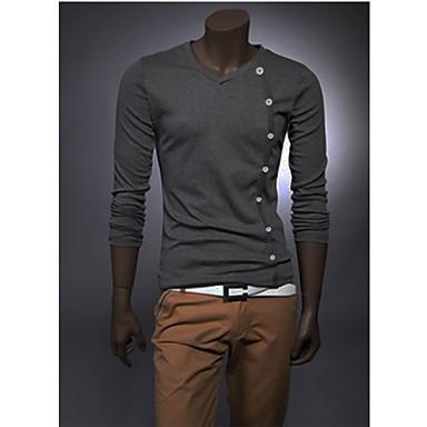 baratos Roupa de Homem Moderna-Homens Camiseta Sólido Algodão Branco L / Manga Longa