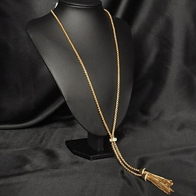 imple And Decent Rhinetone Gold Plated Alloy Long Necklace