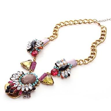 Avrupa Amerika Yüksek Kalite Vintage Zincir kolye renkli Crystal Lüks Lady Bayan Bildirimi Kolye