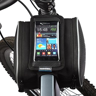 ROSWHEEL Cell Phone Bag / Bike Frame Bag 5.5 inch Touch Screen Cycling for Samsung Galaxy S4 / Iphone 5/5S / iPhone 8/7/6S/6 Black