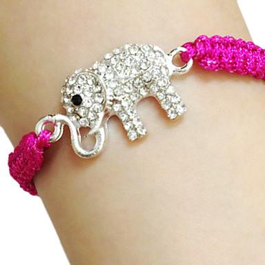 Per donna Bracciali con ciondoli Elefante Lettere dell'alfabeto Con animale Originale Di tendenza Strass Gioielli braccialetto Fucsia / Verde / Blu Per Compleanno Regalo Casual