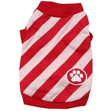 Gatos / Cães Camiseta Vermelho / Azul Roupas para Cães Primavera/Outono Riscas