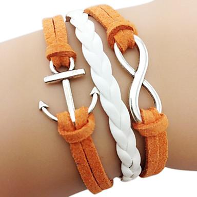 Rétro Joker Anchor 8-Word Rope Bracelet en cuir Multi-Layer