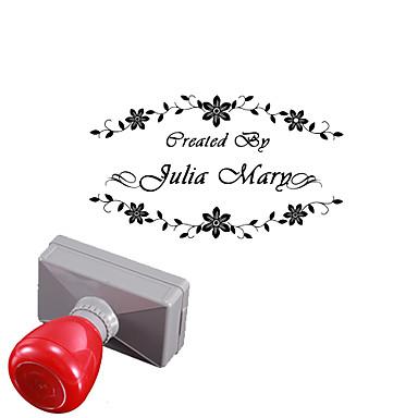 casamento personalizado 33x63mm& estilo flor de negócios 2 linhas retângulo gravado selo selo fotossensível (no prazo de 10 letras)