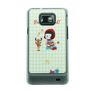 Little Red Riding Hood Kız Samsung Galaxy S2 I9100 için Piyano ve Bear Dance Deri Damar Desen Hard Case Çalma