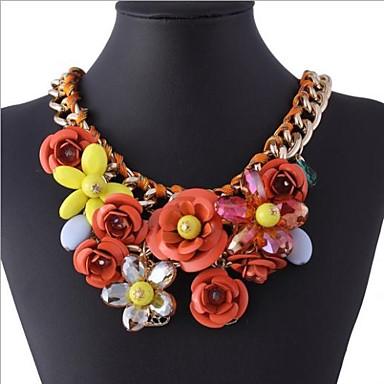 economico Collana-europeo collana girocollo dorato (blu, arancio, rosa) (1 pz)