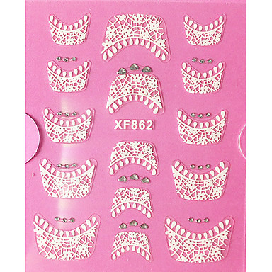 3D Yapay elmas Fransız Dantel Nail Art Etiketler XF Serisi NO.862