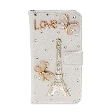 Pentru Carcasă LG Portofel / Titluar Card / Stras / Cu Stand / Întoarce Maska Corp Plin Maska Turnul Eiffel Greu PU piele LG
