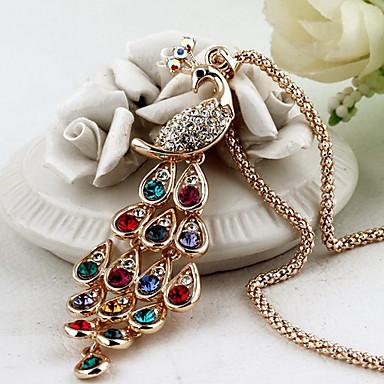 Pentru femei Păun Cristal Ștras Coliere cu Pandativ  -  Plin de Culoare Elegant Păun Auriu Coliere Pentru Petrecere Zilnic Casual