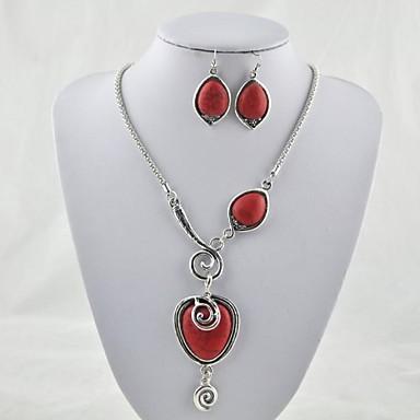 Dame Seturi de bijuterii Iubire Piatră Preţioasă Turcoaz Aliaj Heart Shape Coliere Σκουλαρίκια Pentru Petrecere Zilnic Cadouri de nunta