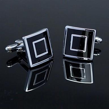 modă pătrat negru argintiu om verificat cufflink model pentru bărbați (1pair) bijuterii