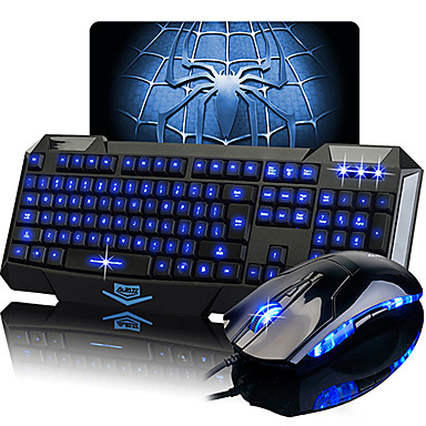 Ajazz Luminous Wired Gaming Keyboard Mouse Mousepad Kit