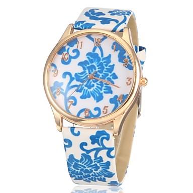 Bayanların Gündelik Saatler Quartz PU Bant Çiçekli Beyaz Mavi 1 2 3 4 5