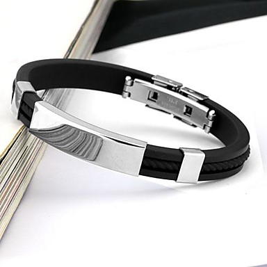 Men's Stainless Steel Cuff Bracelet - Personalized Fashion Circle Black Bracelet For Daily Casual Sports