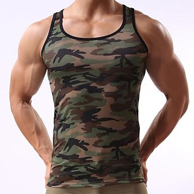 economico Abbigliamento uomo-Canotte Per uomo Sport Attivo Con stampe, Camouflage Verde militare L / Senza maniche / Estate / Taglia piccola