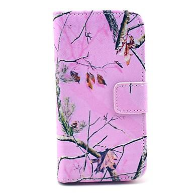 Pentru Samsung Galaxy Carcasă Portofel / Titluar Card / Cu Stand / Întoarce / Model Maska Corp Plin Maska Copac PU piele Samsung S4 Mini