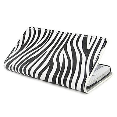 Padrão Zebra PU caso capa de couro com suporte e slot para cartão de Samsung S5 Mini G800