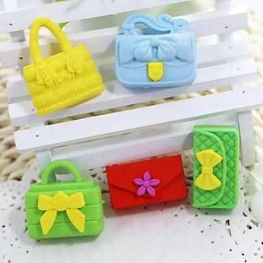 sevimli çıkarılabilir çanta ve cüzdan şeklinde silgi (rastgele renk x 5 adet)