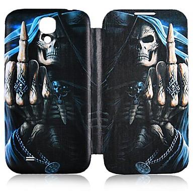 Для Кейс для  Samsung Galaxy Чехлы панели Флип С узором Чехол Кейс для Череп Искусственная кожа для Samsung S4