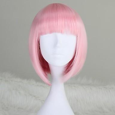 Sentetik Peruklar Bob Saç Kesimi / Bantlı Sentetik Saç Pembe Peruk Kadın's Şort / Orta Bonesiz