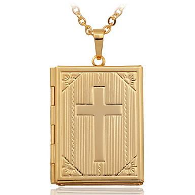 Kadın's Uçlu Kolyeler / Lockets Kolye - 18K Altın Kaplama, Altın Kaplama Krzyż Moda Kolyeler Mücevher Uyumluluk Düğün