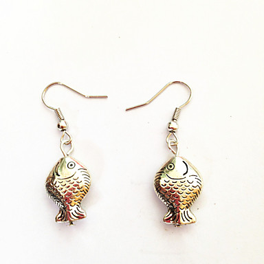 Vintage Ancient Silver Fish Alloy Drop Earring(1 Pair)