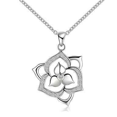 preiswerte Halsketten-Damen Halsketten Pendant Halskette Blume damas Einfach Sterling Silber Zirkonia Silber Silber Modische Halsketten Schmuck Für Hochzeit Party Danke Geschenk Alltag Normal