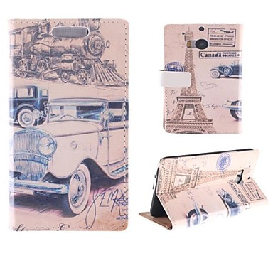 Classic and Paris Eiffel Tower Design PU Full Body Case with Card Slot for HTC One M8