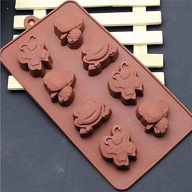 8 delik karikatür arı kelebek kurbağa şeklinde pasta buz jöle çikolata kalıpları, silikon 21.5 × 16.1 × 2.5 (8.5 × 6.3 × 1.0 inç)