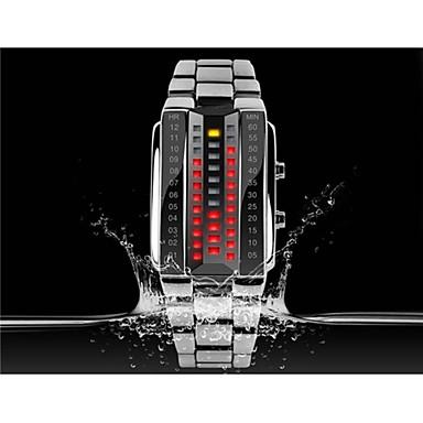 SKMEI Kadın's Moda Saat Dijital saat Dijital LED Paslanmaz Çelik Bant Lüks Siyah Gümüş