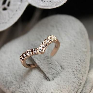 Kadın's Bildiri Yüzüğü Altın alaşım Düğün Parti Günlük Kostüm takısı