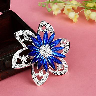 billige Brocher-mode retro populære koreanske blomst flerfarvet legering rhinestone brocher (1 stk) (rød, blå)