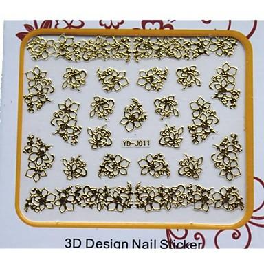 손톱 발가락 DIY를위한 새로운 황금 금속 아트 네일 매니큐어 스티커 장식